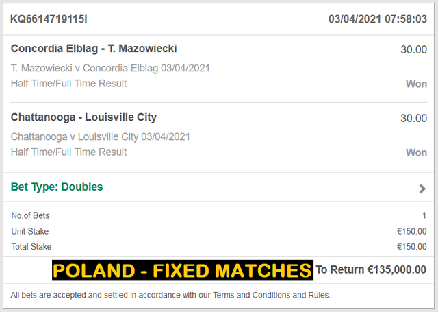 POLAND DOUBLE HT/FT FIXED MATCHES