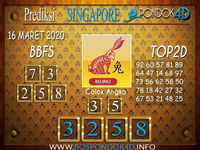 Prediksi Togel SINGAPORE PONDOK4D 16 MARET 2020