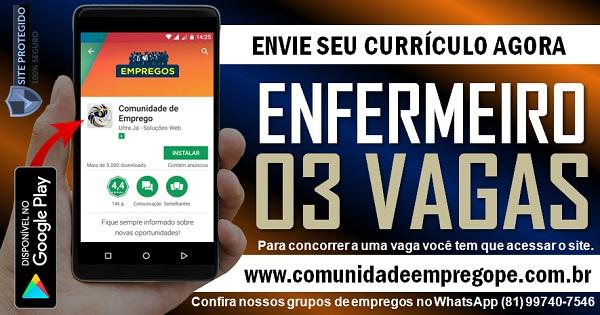 ENFERMEIRO, 03 VAGAS PARA ATUAR EM CLINICA DE REABILITAÇÃO