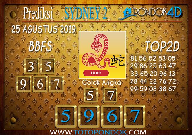 Prediksi Togel SYDNEY 2 PONDOK4D 25 AGUSTUS 2019