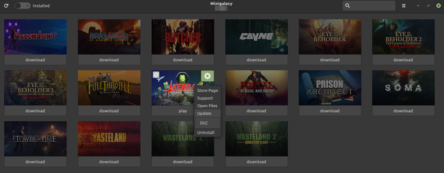 Minigalaxy (an unofficial GOG client for Linux) showing available updates to a game.