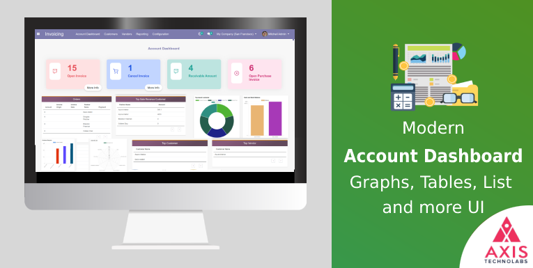 Account dashboard in odoo, Dynamic odoo Accounting dashboard with modern UI and responsive Invoice dashboard odoo