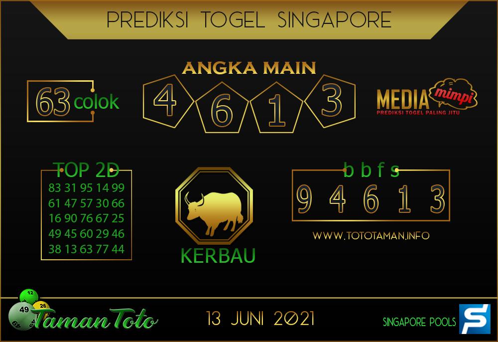Prediksi Togel SINGAPORE TAMAN TOTO 13 JUNI 2021