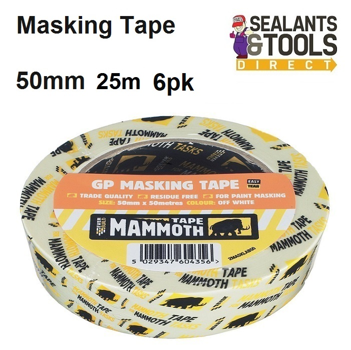 Everbuild Mammoth Masking Tape 50mm x 25m Pack of 6