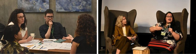 Two photographs from Catalyst. In the first, a group of people sits around a table, seeming to be engaged in conversation. In the second, two people in a Long Conversation sit in chairs facing  each other and speaking.