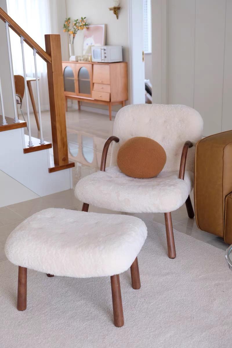 Philip arctander sheepskin armchair and ottoman white wool
