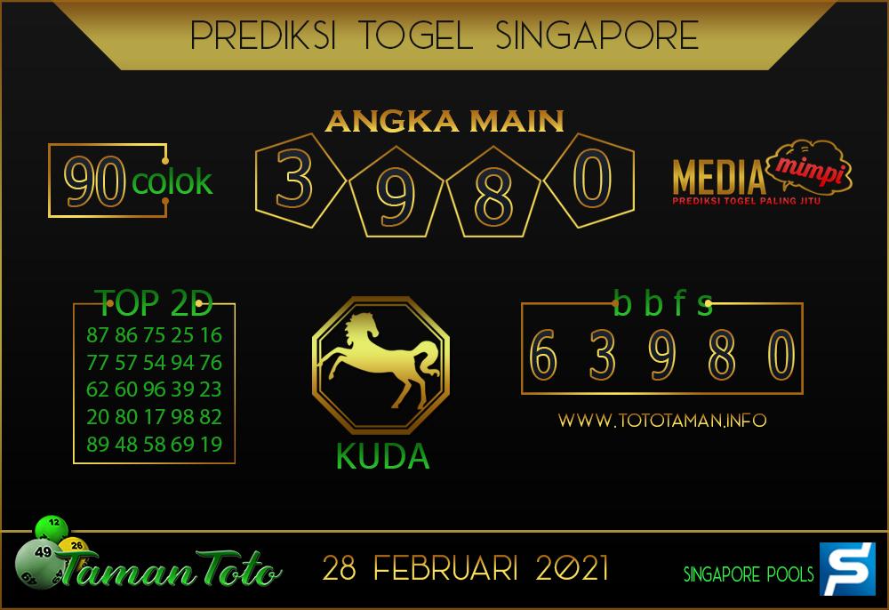 Prediksi Togel SINGAPORE TAMAN TOTO 28 FEBRUARI 2021