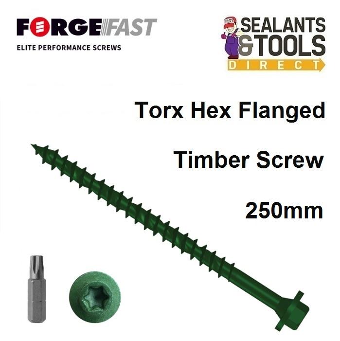 50 Torxfast Torx Flanged Hex Head Timber Decking Premium Wood Screws 7.0 x 65mm