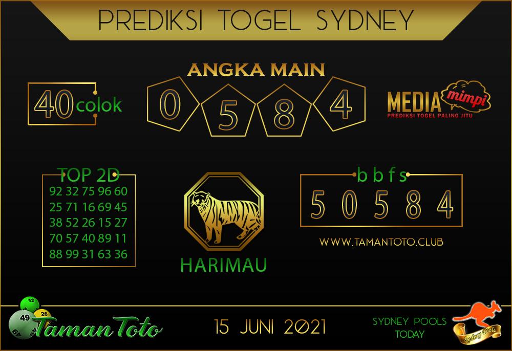 Prediksi Togel SYDNEY TAMAN TOTO 15 JUNI 2021
