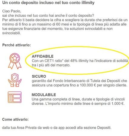 Illimity PROMOZIONE 25,00€ DI BENVENUTO + 25,00 €/invito Scadenza 20/02/2020 + interessi fino 2% Deposito-illimity-2r