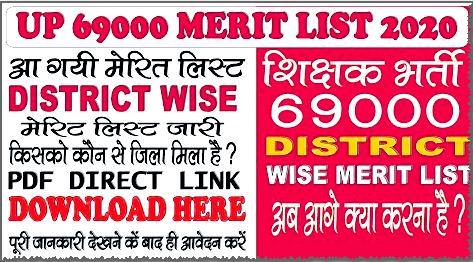 UP 69000 Assistant Teacher District Choice Merit List 2020