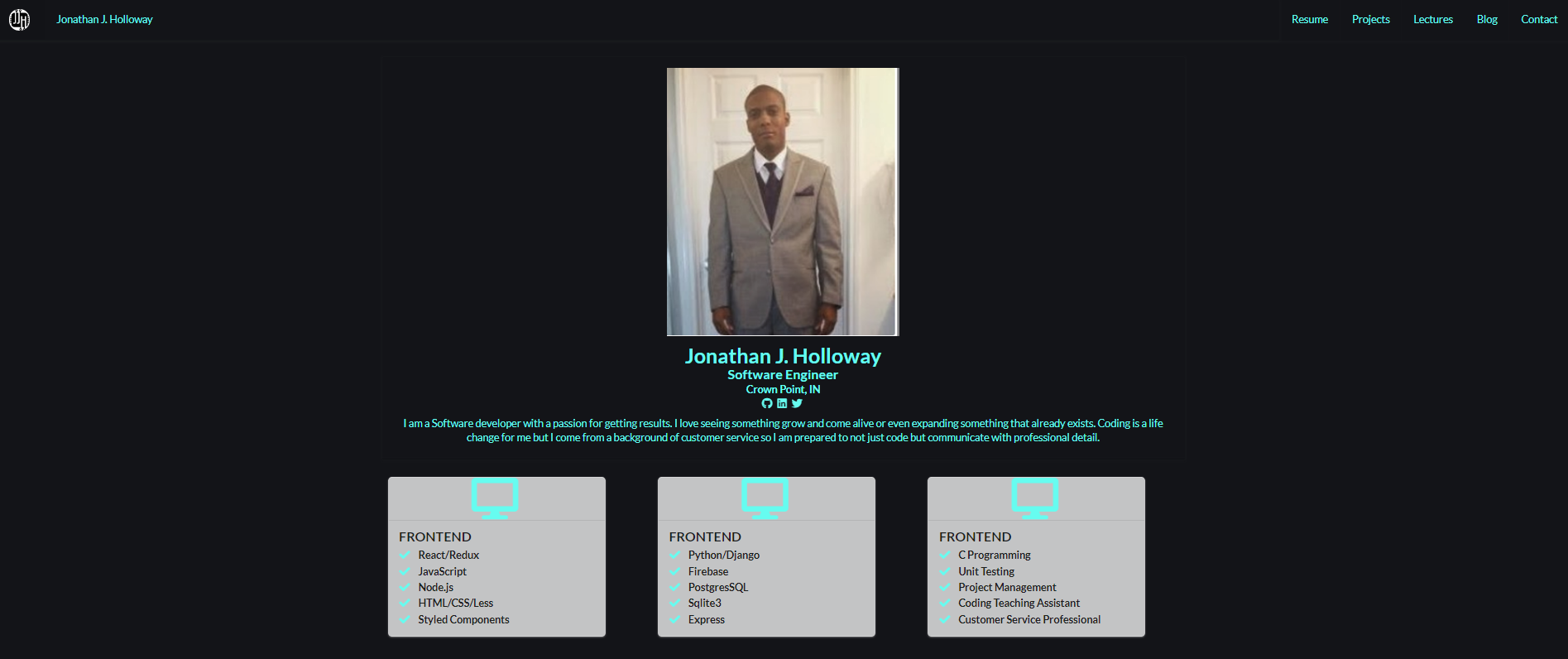 Jonathan J Holloway Software Engineer Full Stack Developer