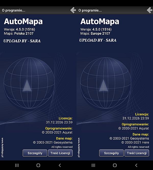 AUTOMAPA 4.5.0 ( 2107 ) POLSKA / EUROPA FINAL ANDROID