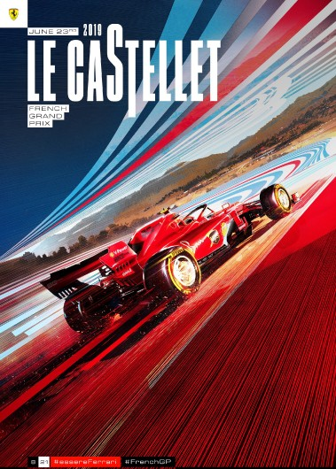 F1 FRANCE  2019 FERRARI COVER ART RACE POSTER DVD