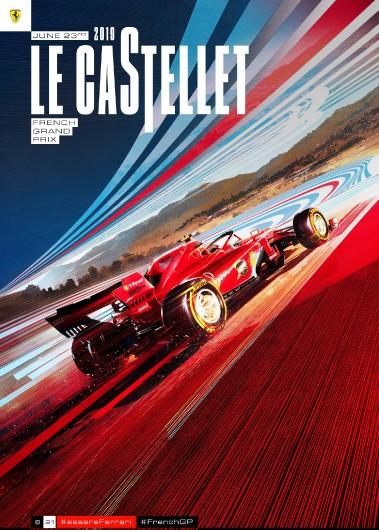F1 FRANCE  2019 FERRARI COVER ART RACE POSTER DVD