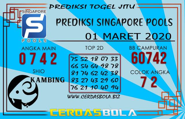 Prediksi Togel SINGAPORE CERDASBOLA 01 MARET 2020