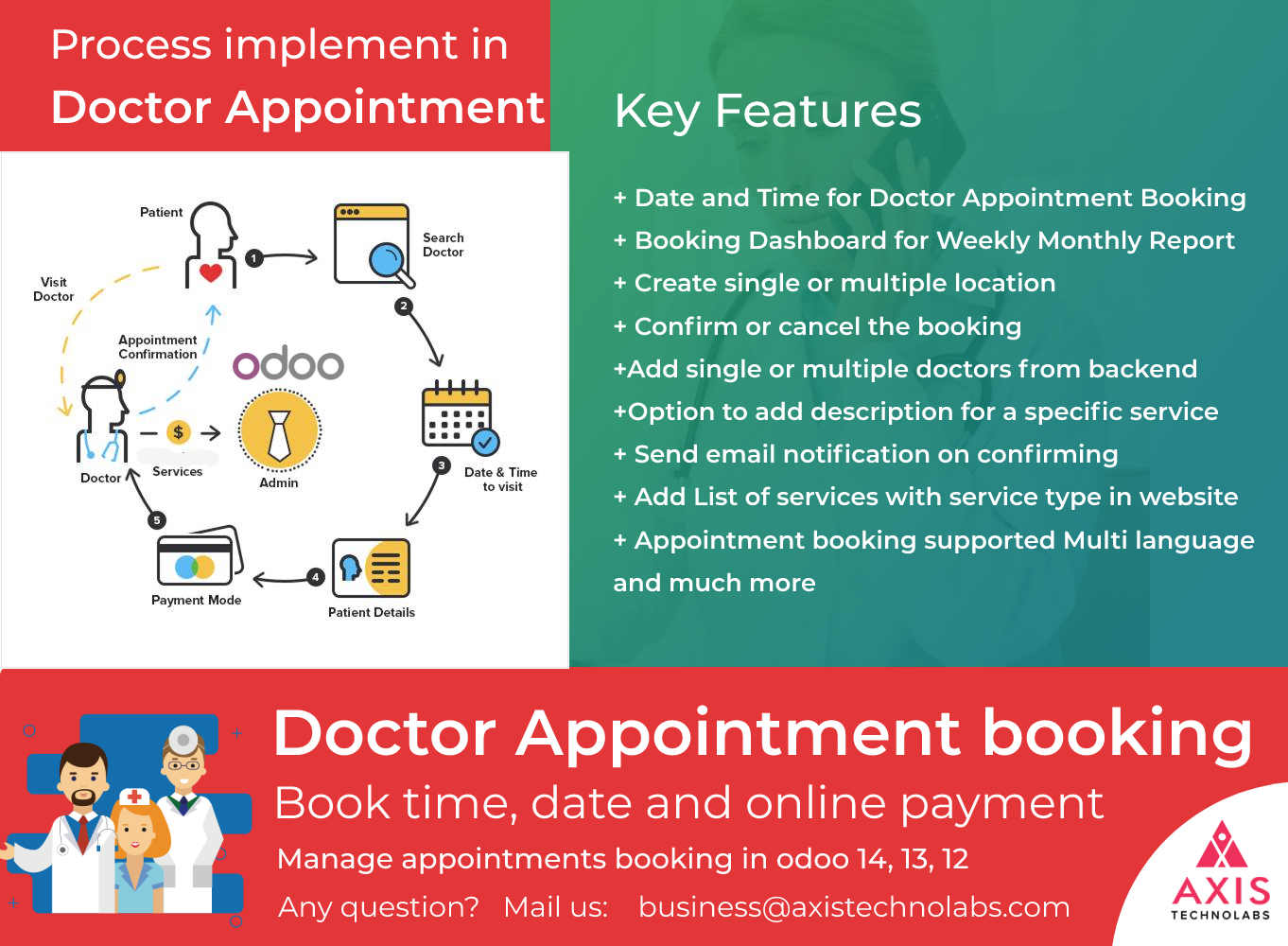 Doctor Appointment Booking in odoo, Clinic Odoo Website Appointment Book, Doctor calendar booking slot, Patient appointment booking and payment online