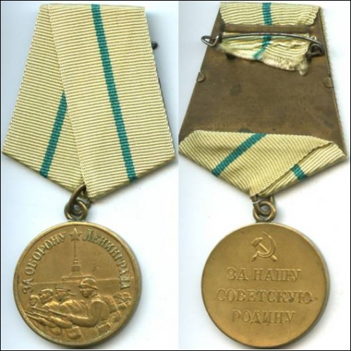 "Medal ""For the Defence of Leningrad""."