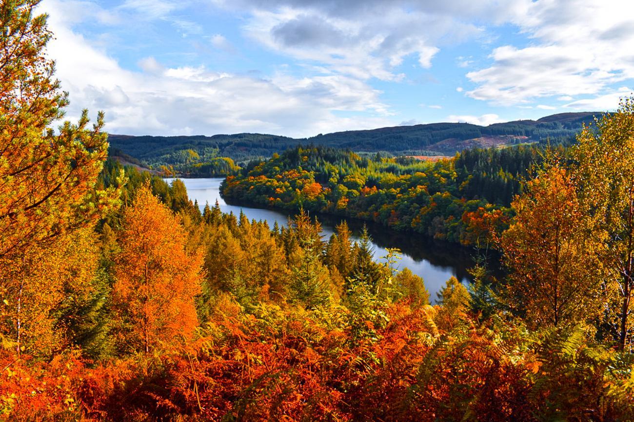Loch Drunkie, The Trossachs, Scotland, Autumn leaves
