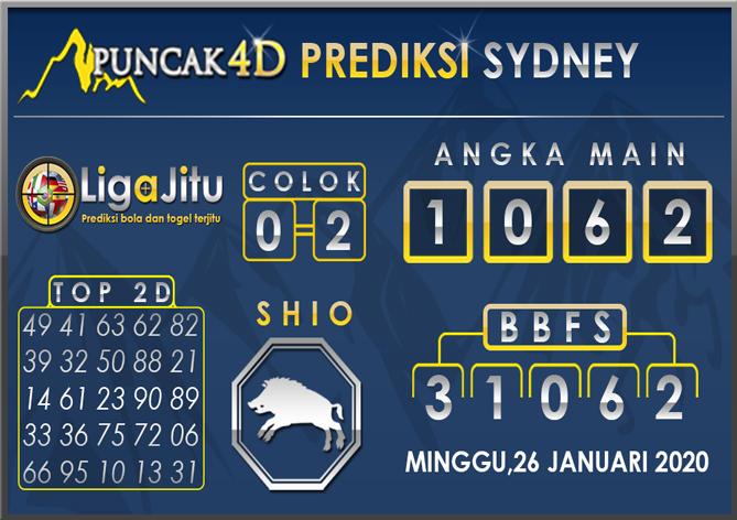 PREDIKSI TOGEL SYDNEY PUNCAK4D 26 JANUARI 2020