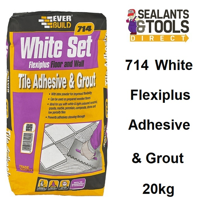Everbuild 714 White Set Flexiplus Tile Adhesive Grout 20kg Wsplus20