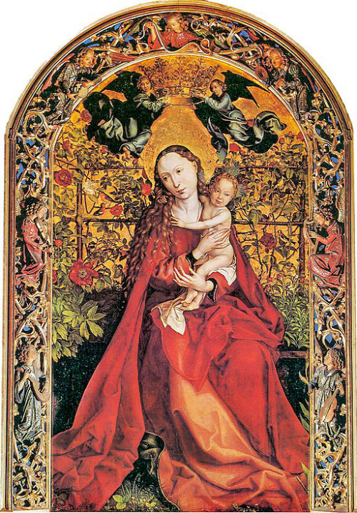An image of Madonna of the Rose Garden by Martin Schongauer, depicting the link between the Virgin Mary and roses.