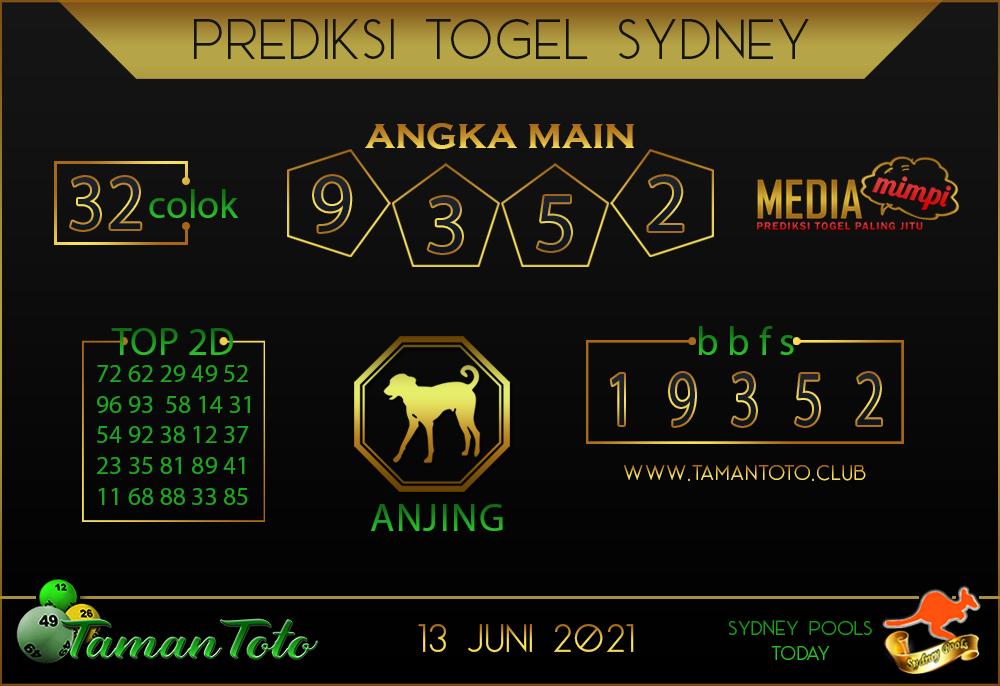 Prediksi Togel SYDNEY TAMAN TOTO 13 JUNI 2021