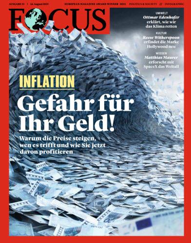 Cover: Focus Nachrichtenmagazin No 33 vom 14  August 2021