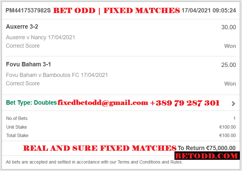 BET ODD CORRECT SCORE FOR 17.04.2021 | BET ODD DOUBLE CORRECT SCORE FIXED MATCHES