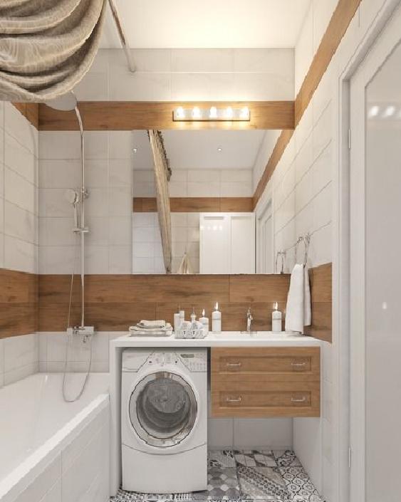 Плитка с принтом дерева в ванной комнате