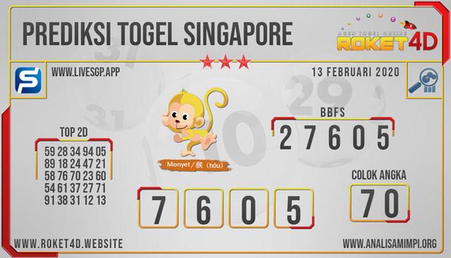 PREDIKSI TOGEL SINGAPORE ROKET4D KAMIS 13 FEB 2020