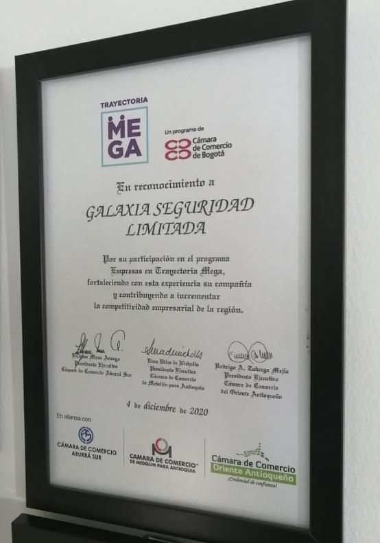 diploma reconocimiento trayectoria mega de la cámara de comercio