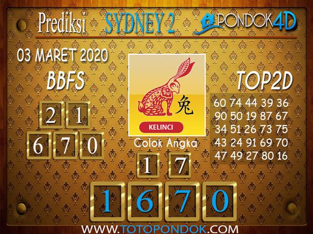 Prediksi Togel SYDNEY 2 PONDOK4D 03 MARET 2020