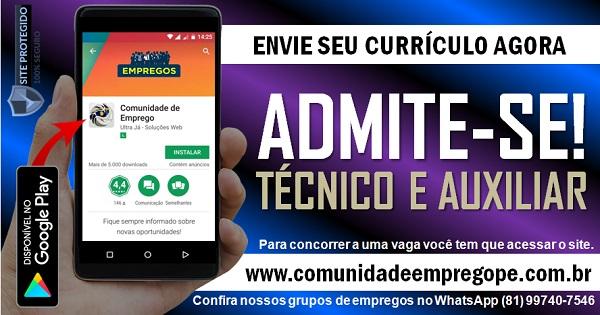 TÉCNICO E AUXILIAR TÉCNICO PARA EMPRESA DE ENGENHARIA AMBIENTAL NO RECIFE