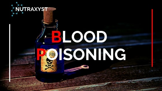 Blood poisoning. poison bottle with a skull sign.