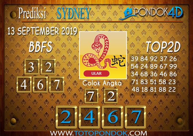 Prediksi Togel SYDNEY PONDOK4D 13 SEPTEMBER 2019
