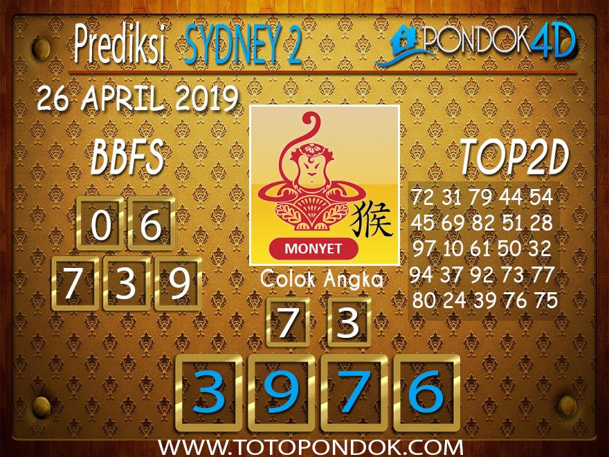 Prediksi Togel SYDNEY 2 PONDOK4D 26 APRIL 2019