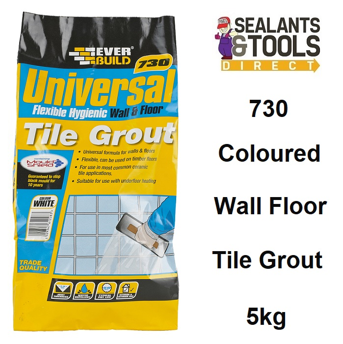 Everbuild 730 Flexible Hygienic Universal Wall Floor Grout 5Kg