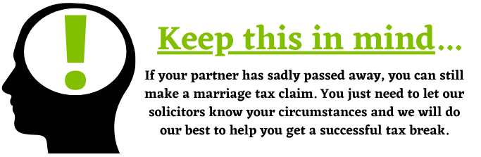 Marriage Tax Claims partner passing