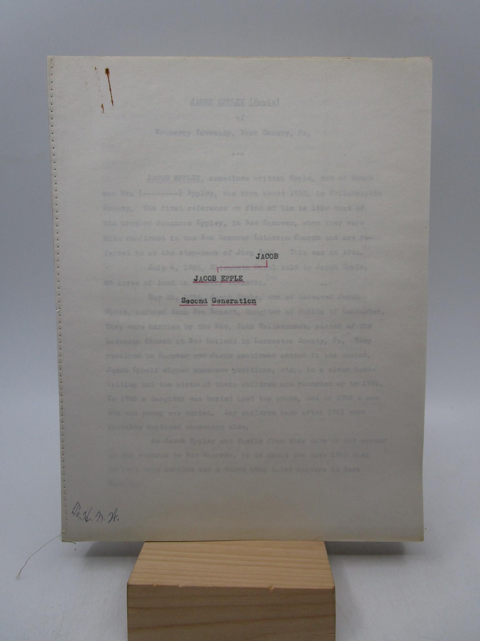 Image for Eppley Family, Jacob Epple (Second Generation), Other Eppley Families, Family No. 5, Erskine Family, Zimmerman-Eppley (Six Manuscripts)