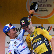 SANREMO-ITALY-AUGUST-08-Podium-Julian-Alaphilippe-of-France-and-Team-Deceuninck-Quick-Step-Wout-Van