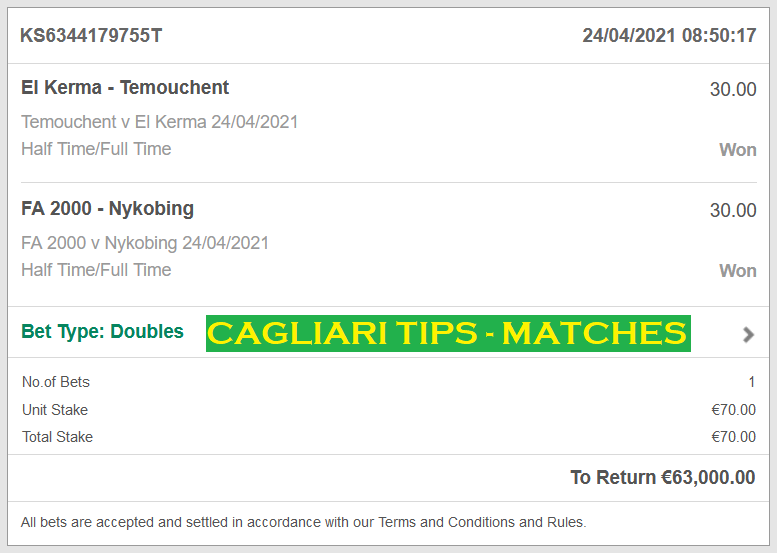 Official DOUBLE HT / FT FOR CAGLIARI FIXED MATCHES   CAGLIARI DOUBLE FIXED MATCHES