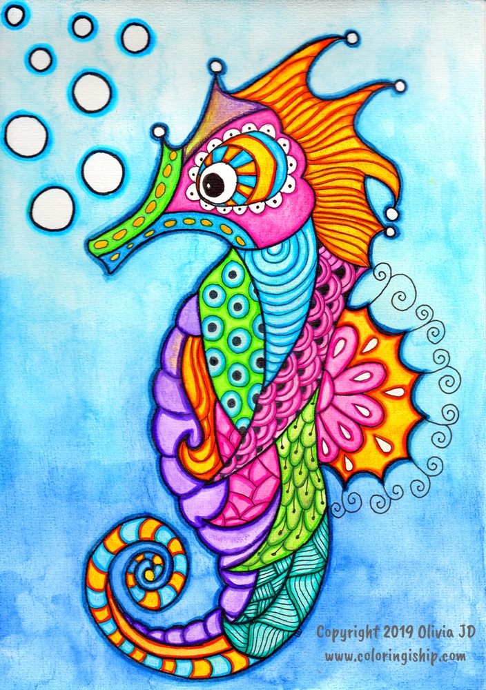 seahorse drawing with color