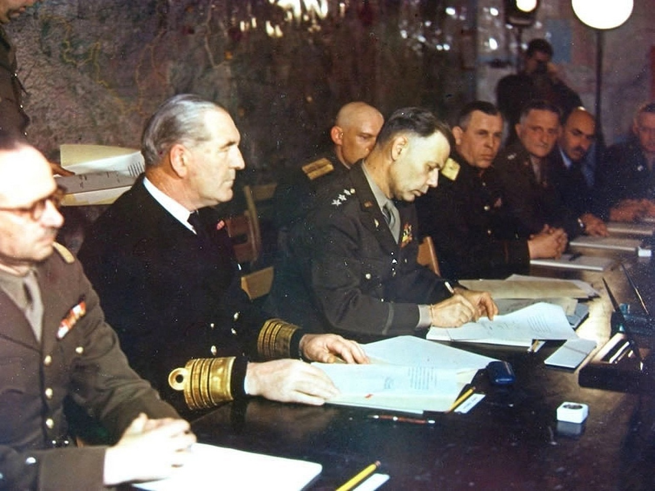 Officers of the USSR and their allies during the adoption of the act of surrender of Germany.