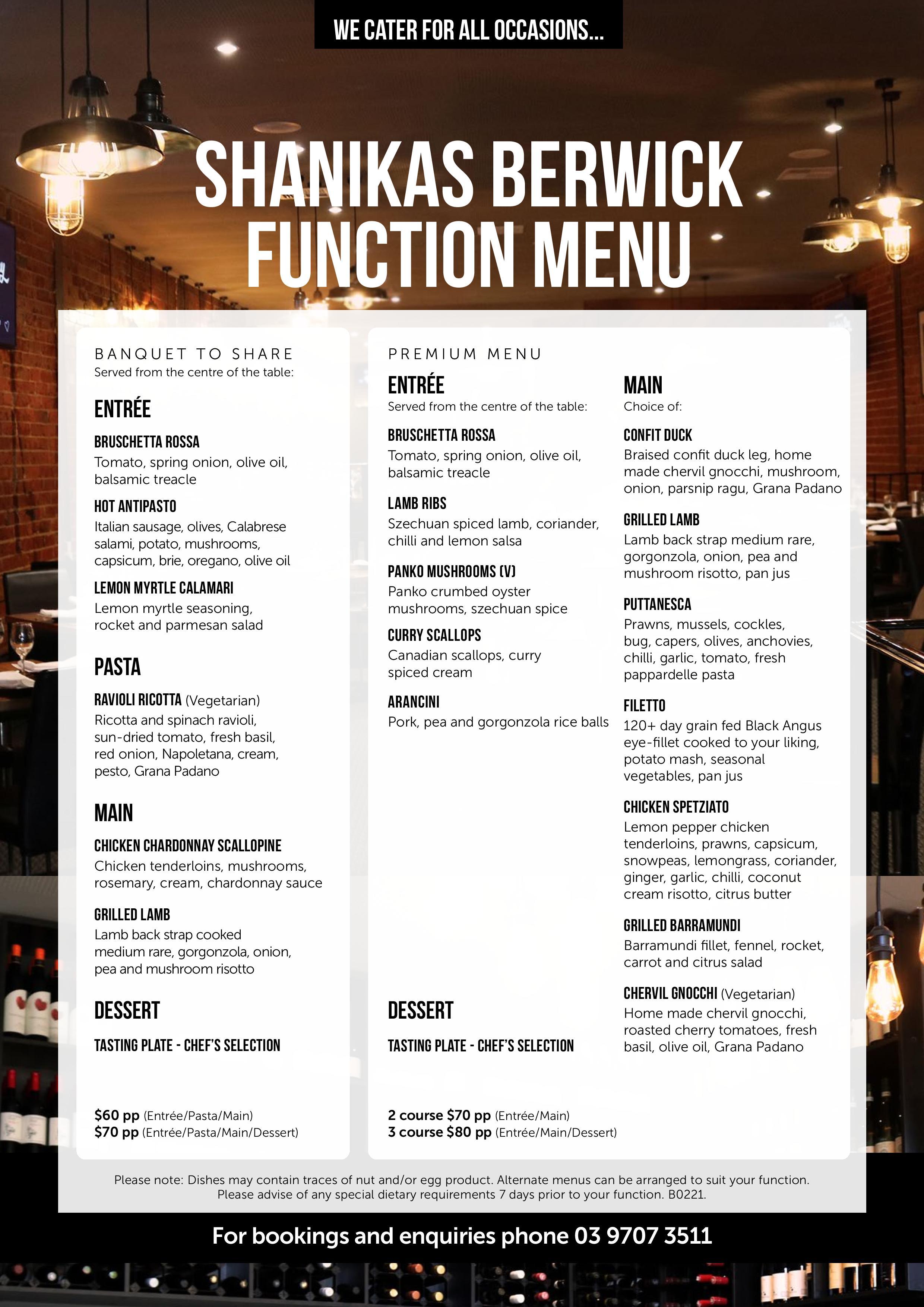Shanikas Berwick Function menu