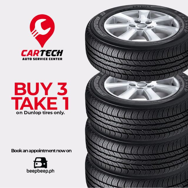Car Shop Promos: Buy 3 take 1 on dunlop tires