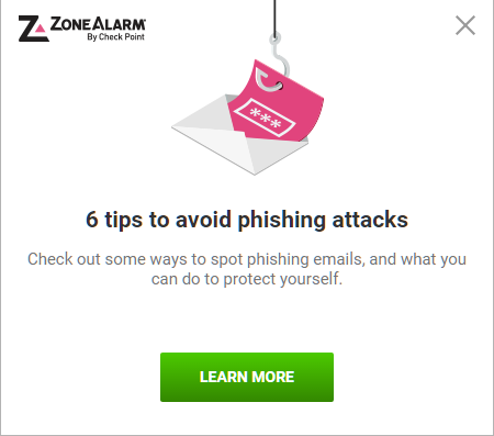 Zone Alarm nagging spam pop-up
