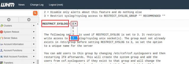 ConfigServer Restrict Syslog