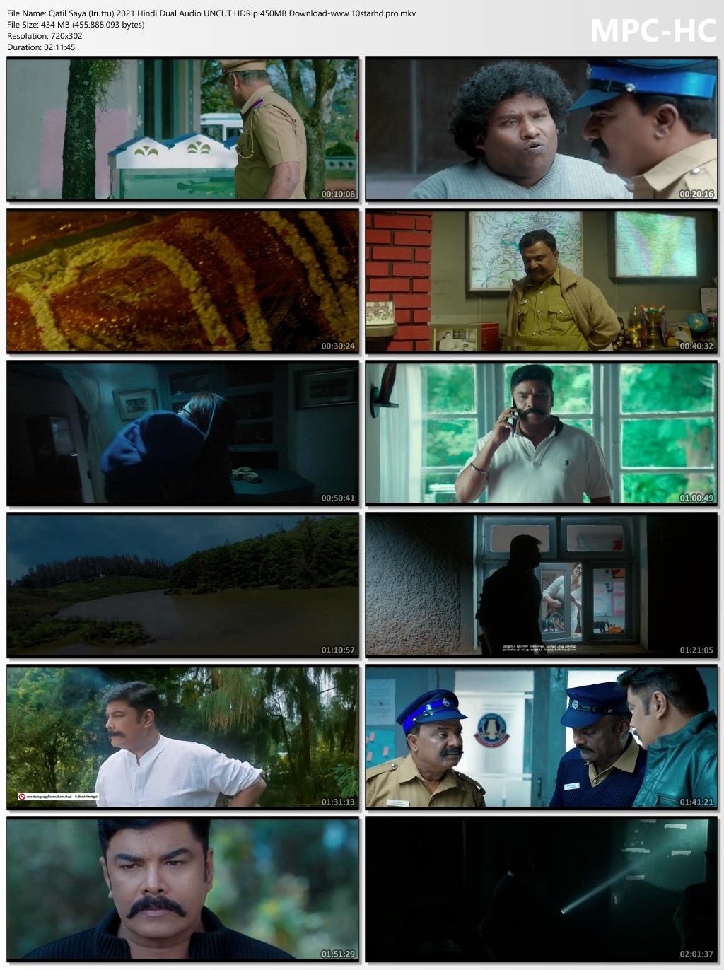 Qatil Saya (Iruttu) 2021 Hindi Dual Audio UNCUT HDRip 400MB Download | 10starhd.pro