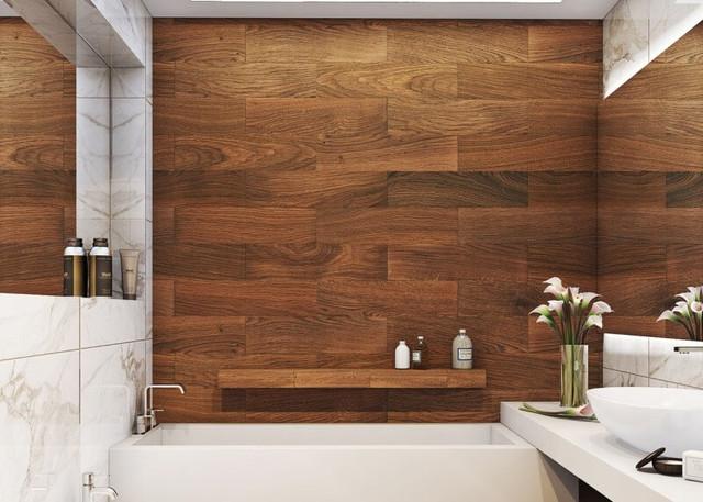 Использование плитки с принтом дерева в ванной комнате
